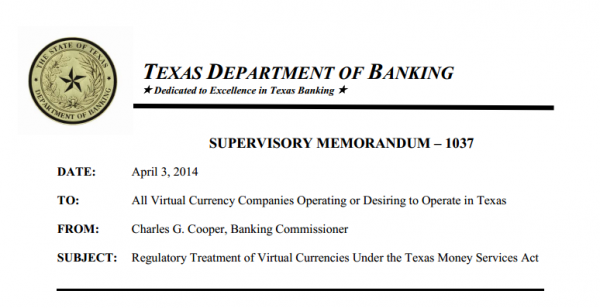 Texas Department Of Banking Crystallizes Treatment of Virtual Currencies Under the Texas Money Services Act